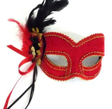 Red velour beaded mask with headband or ribbons
